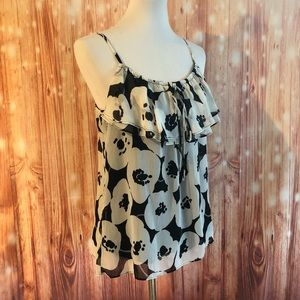 NY&Co Black And White Floral Ruffle Tank Top